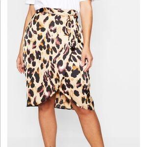 Dresses & Skirts - Satin leopard wrap skirt